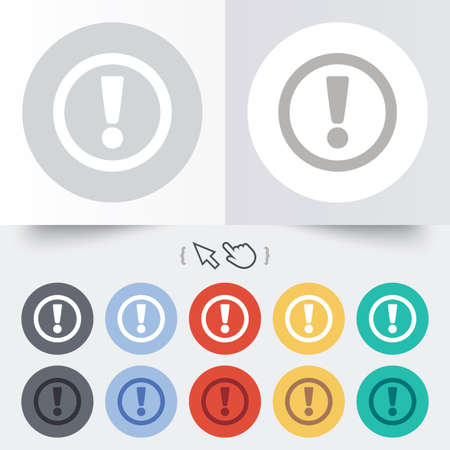 Attention sign icon. Exclamation mark. Hazard warning symbol. Round 12 circle buttons. Shadow. Hand cursor pointer. Vector