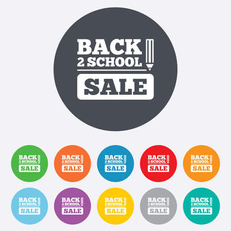 Back to school sign icon. Back 2 school pencil sale symbol. Round colourful 11 buttons.  Vector