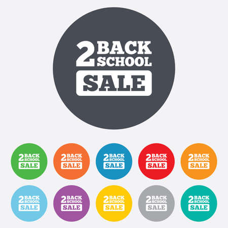 Back to school sign icon. Back 2 school sale symbol. Round colourful 11 buttons.  Vector