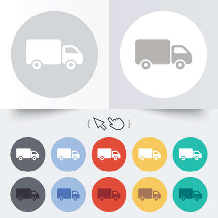 cargo van: Delivery truck sign icon. Cargo van symbol. Round 12 circle buttons.  Illustration