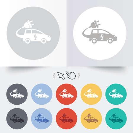 electric vehicle: Auto elettrica icona segno. Simbolo Hatchback. Trasporto del veicolo elettrico. Rotondi 12 pulsanti cerchio.
