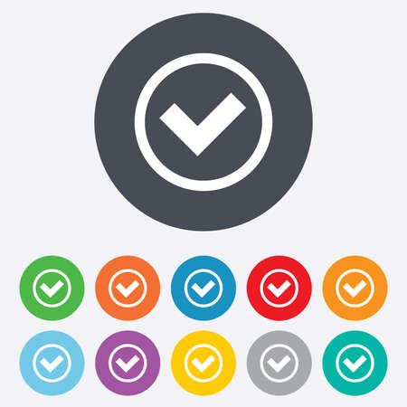 Check mark sign icon. Yes circle symbol. Confirm approved. Round colourful 11 buttons. Vector