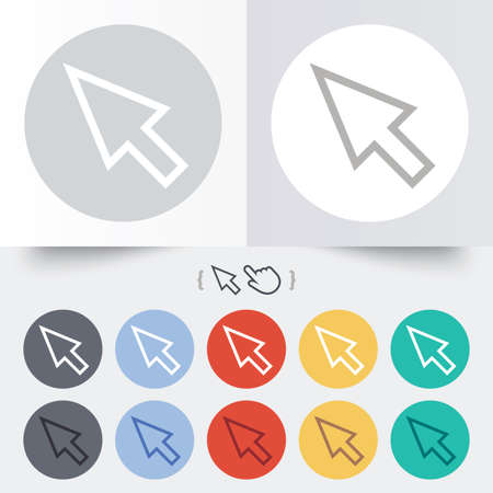 Mouse cursor sign icon. Pointer symbol. Round 12 circle buttons.  Vector