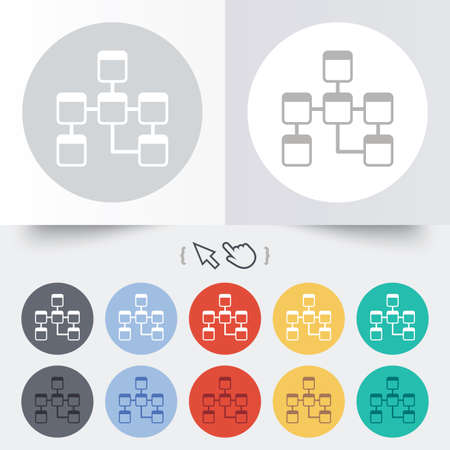 relational: Database sign icon. Relational database schema symbol. Round 12 circle buttons.