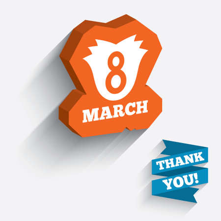 8 March Womens Day sign icon. Flower symbol. White icon on orange 3D piece of wall.  Vector