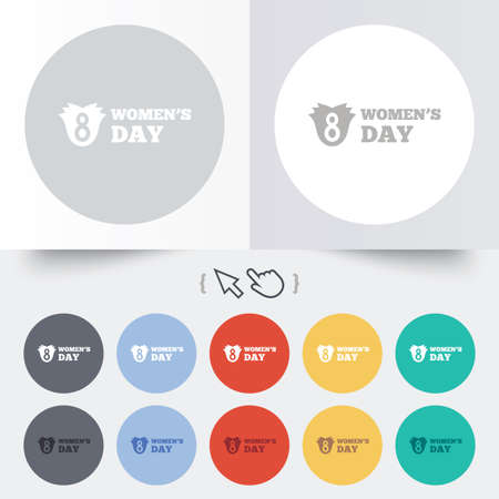 8 March Womens Day sign icon. Flower symbol. Round 12 circle buttons.  Vector