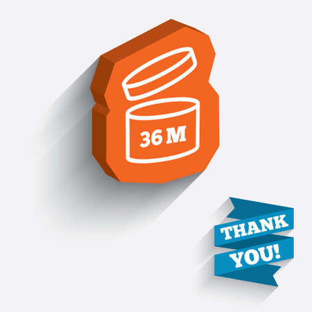 expiration: After opening use 36 months sign icon. Expiration date. White icon on orange 3D piece of wall.  Illustration