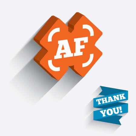 Autofocus photo camera sign icon. AF Settings symbol. White icon on orange 3D piece of wall.