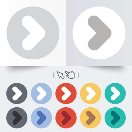 Arrow sign icon. Next button. Navigation symbol. Round 12 circle buttons. Stok Fotoğraf - 31670226