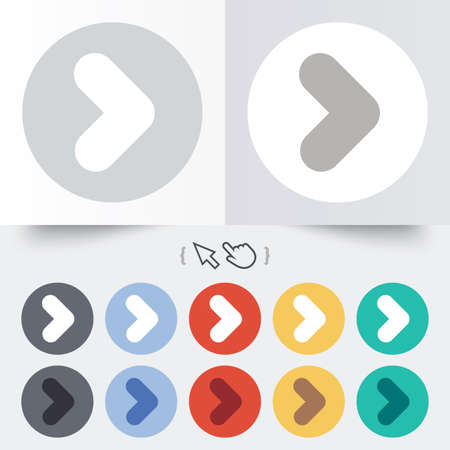 Muestra de la flecha icono. Botón Siguiente. Símbolo de navegación. Ronda 12 botones de círculo. Foto de archivo - 31670226