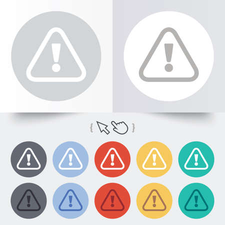 Attention sign icon. Exclamation mark. Hazard warning symbol. Round 12 circle buttons. Vector