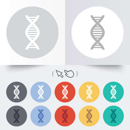 DNA sign icon. Deoxyribonucleic acid symbol. Round 12 circle buttons.  Vector