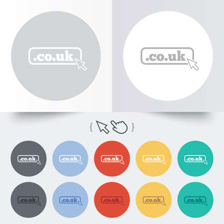 subdomain: Domain CO.UK sign icon. UK internet subdomain symbol with cursor pointer. Round 12 circle buttons.