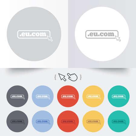 subdomain: Domain EU.COM sign icon. Internet subdomain symbol with cursor pointer. Round 12 circle buttons.  Illustration