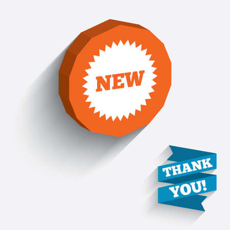 New sign icon. New arrival star symbol. White icon on orange 3D piece of wall. Vektorové ilustrace