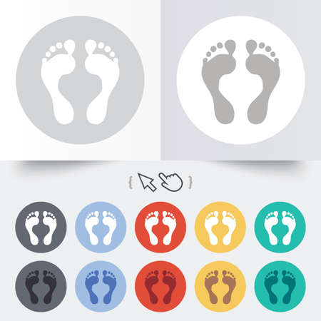 Human footprint sign icon. Barefoot symbol. Foot silhouette. Round 12 circle buttons. Vector
