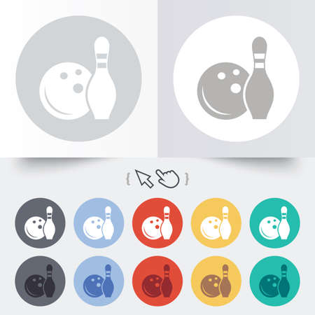 Bowling game sign icon. Ball with pin skittle symbol. Round 12 circle buttons.  Vector