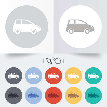 Car sign icon. Hatchback symbol. Transport. Round 12 circle buttons.  Vector