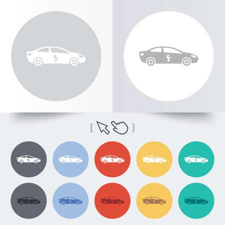 electric vehicle: Elettrico icona segno dell'automobile. Sedan simbolo saloon. Trasporto di veicoli elettrici. Rotondi 12 pulsanti cerchio.