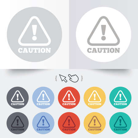 Attention caution sign icon. Exclamation mark. Hazard warning symbol. Round 12 circle buttons.  Vector