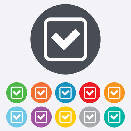 Check mark sign icon. Yes square symbol. Confirm approved. Round colourful 11 buttons. Vector Vector