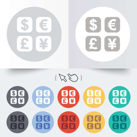 currency converter: Currency exchange sign icon. Currency converter symbol. Money label. Round 12 circle buttons. Shadow. Hand cursor pointer. Vector Illustration