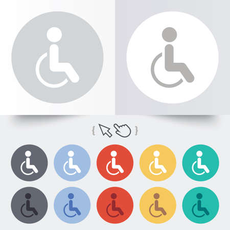 Disabled sign icon. Human on wheelchair symbol. Handicapped invalid sign. Round 12 circle buttons. Shadow. Hand cursor pointer. Vector Vector