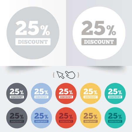 25 percent discount sign icon. Sale symbol. Special offer label. Round 12 circle buttons. Shadow. Hand cursor pointer. Vector Vector