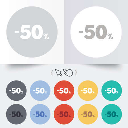50 percent discount sign icon. Sale symbol. Special offer label. Round 12 circle buttons. Shadow. Hand cursor pointer. Vector Vector