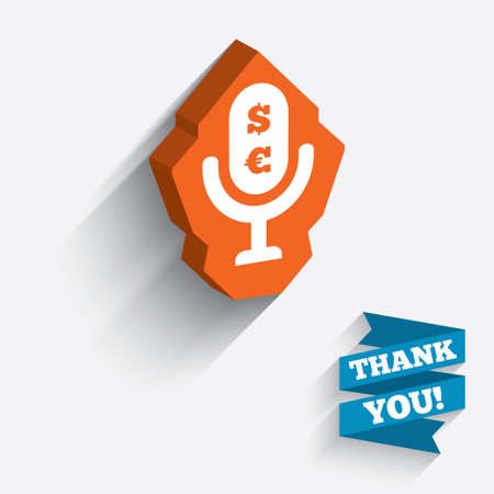 Microphone icon. Speaker symbol. Paid music sign. White icon on orange 3D piece of wall. Carved in stone with long flat shadow. Vector