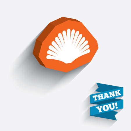 Sea shell sign icon. Conch symbol. Travel icon. White icon on orange 3D piece of wall. Carved in stone with long flat shadow. Vector Vector