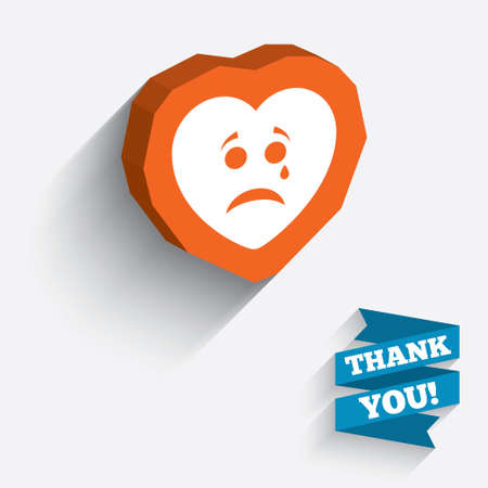 Sad heart face with tear sign icon. Crying chat symbol. White icon on orange 3D piece of wall. Carved in stone with long flat shadow. Vector Vector