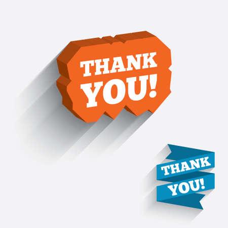 gratitudine: Grazie firmare icona. Simbolo Gratitudine. Icona bianca su arancio piece 3D di parete. Scolpito in pietra con una lunga ombra piatta. Vettore