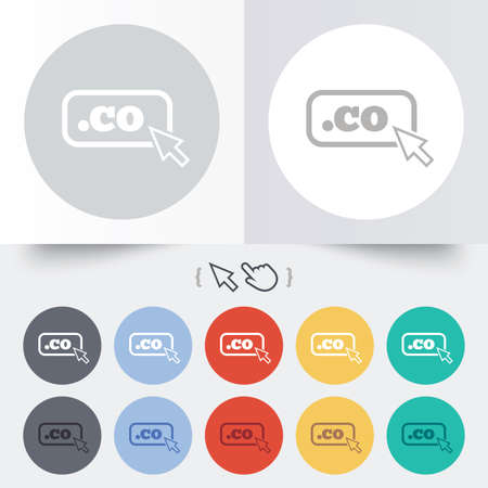 co: Domain CO sign icon. Top-level internet domain symbol with cursor pointer. Round 12 circle buttons. Shadow. Hand cursor pointer. Vector Illustration