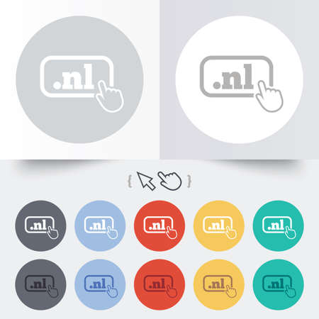 nl: Domain NL sign icon. Top-level internet domain symbol with hand pointer. Round 12 circle buttons. Shadow. Hand cursor pointer. Vector