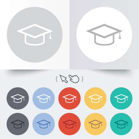 Graduation cap sign icon. Higher education symbol. Round 12 circle buttons. Shadow. Hand cursor pointer. Vector
