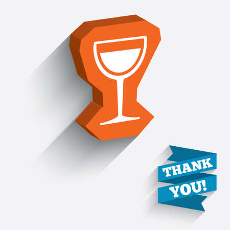 long drink: Wine glass sign icon. Alcohol drink symbol. White icon on orange 3D piece of wall. Carved in stone with long flat shadow. Vector Illustration