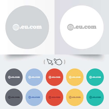 subdomain: Domain EU.COM sign icon. Internet subdomain symbol with globe. Round 12 circle buttons. Shadow. Hand cursor pointer. Vector Illustration