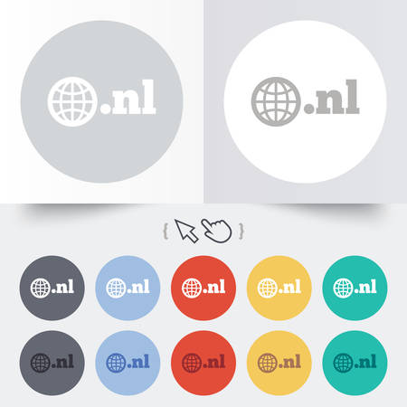 nl: Domain NL sign icon. Top-level internet domain symbol with globe. Round 12 circle buttons. Shadow. Hand cursor pointer. Vector Illustration