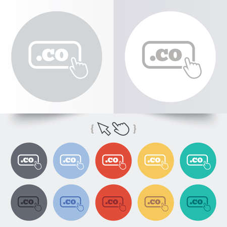 co: Domain CO sign icon. Top-level internet domain symbol with hand pointer. Round 12 circle buttons. Shadow. Hand cursor pointer. Vector