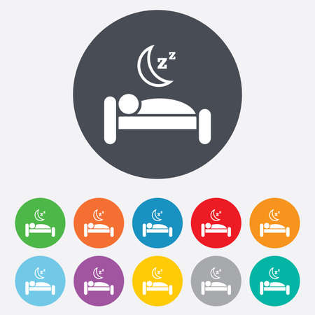 Hotel apartment sign icon. Travel rest place. Sleeper symbol. Round colourful 11 buttons. Vector