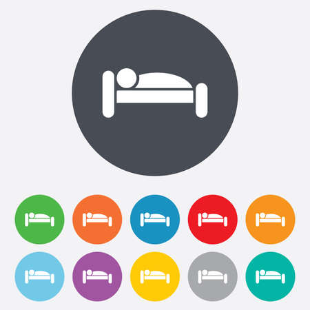 Human in bed sign icon. Travel rest place. Sleeper symbol. Round colourful 11 buttons. Vector Vector