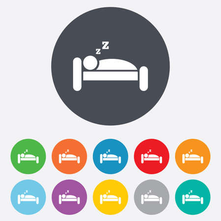 Hotel apartment sign icon. Travel rest place. Sleeper symbol. Round colourful 11 buttons. Vector Vector