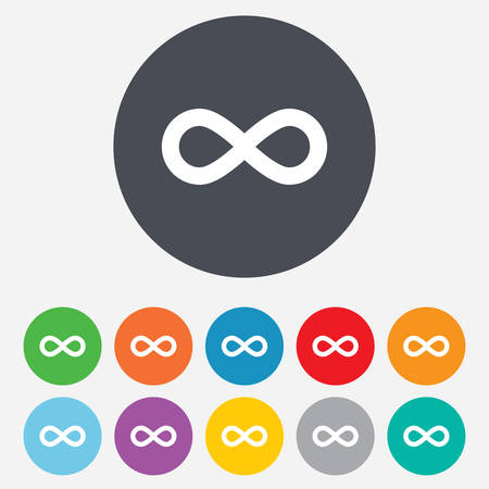 eternally: Limitless sign icon. Infinity symbol. Round colourful 11 buttons. Vector
