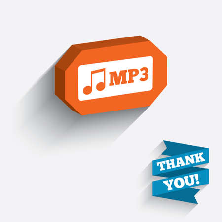 Mp3 music format sign icon. Musical symbol. White icon on orange 3D piece of wall. Carved in stone with long flat shadow. Vector Vector