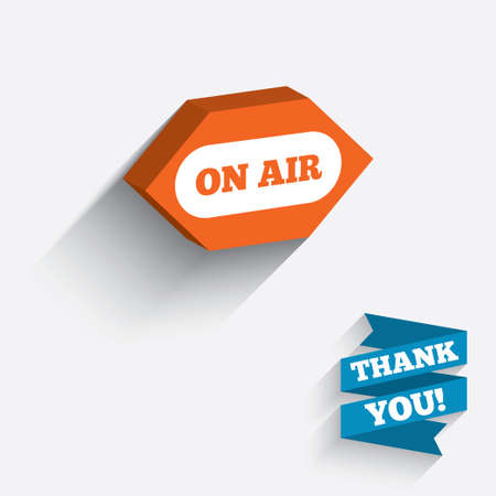 long live: On air sign icon. Live stream symbol. White icon on orange 3D piece of wall. Carved in stone with long flat shadow. Vector