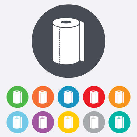 Paper towel sign icon. Kitchen roll symbol. Round colourful 11 buttons. Vector