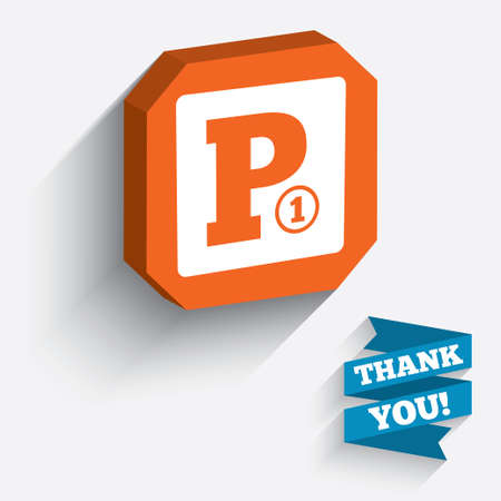 Paid parking sign icon. Car parking symbol. White icon on orange 3D piece of wall. Carved in stone with long flat shadow. Vector Vector