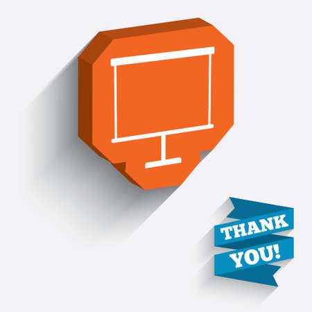 ppt: Presentation billboard sign icon. Clean board symbol. White icon on orange 3D piece of wall. Carved in stone with long flat shadow. Vector