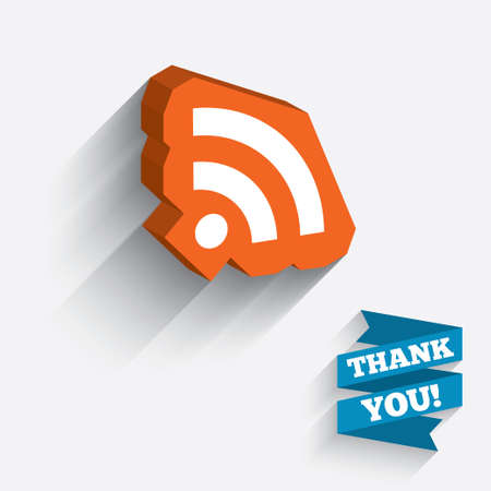 RSS sign icon. RSS feed symbol. White icon on orange 3D piece of wall. Carved in stone with long flat shadow. Vector
